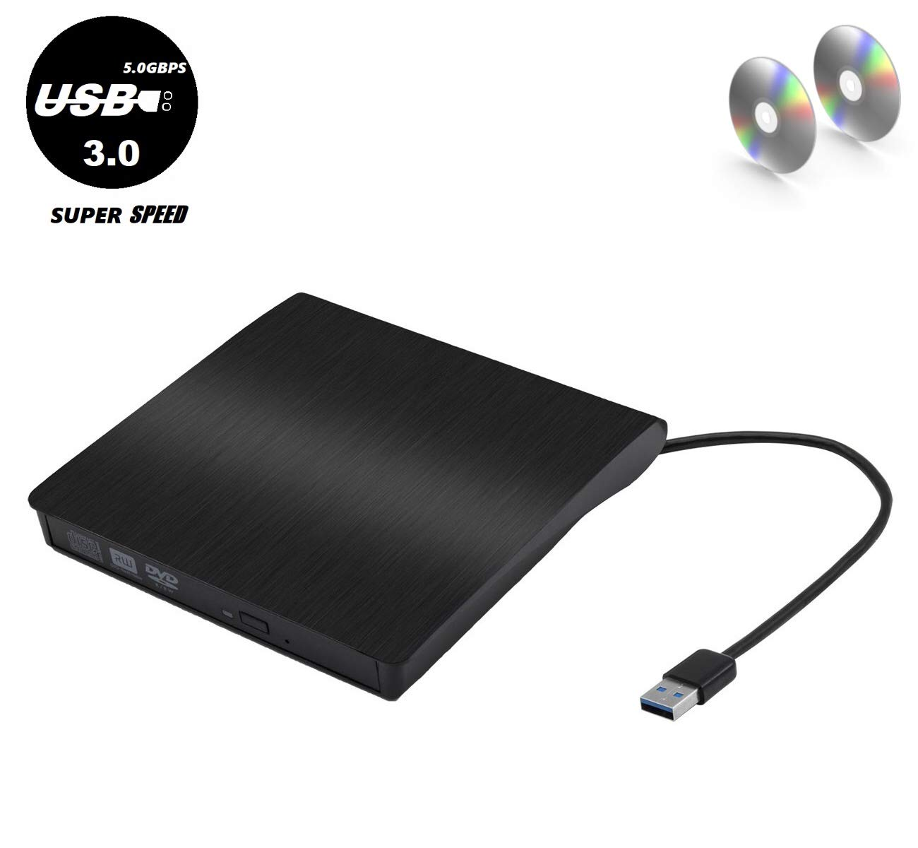 External CD/DVD Drive, USB 3.0 Portable/5.0GBPS, Fits for DVD-R/DVD-RW, DVD+R/DVD+RW, DVD-ROM, Super Speed Data Transfer, Compatible for all Brands and Operating Systems of Laptops. Windows/MAC, Black