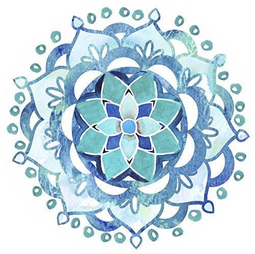 Glass Door & Window Repositionable Sticker Decal. 2 per package - Alert Birds, Dogs, Kids, Customers and Guests. Warn, Protect, Safety, Removable, Self Adhesive, Bird Alert. (Blue Mandala)