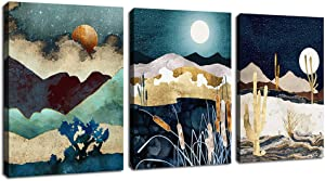 """Abstract Mountain Moon Sunset Sunrise Wall Art Modern Cactus Canvas Pictures Desert Plants Contemporary Abstract Lanscape Artwork for Bedroom Bathroom Living Room Wall Decor 12"""" x 16"""" x 3 Pieces"""