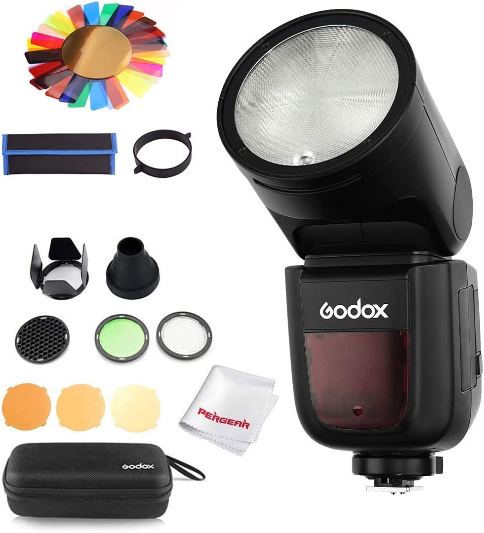 Godox V1-S Flash with Godox AK-R1 Accessories Kit for Sony, 76Ws 2.4G TTL Round Head Flash Speedlight, 1/8000 HSS, 1.5 sec. Recycle Time, 2600mAh Lithimu Battery, 10 Level LED Modeling Lamp