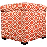 MJL Furniture Designs Tami Collection Fabric Upholstered Lift Top Storage Foot Rest Cube Ottoman, Nicole Series, Tabby Orange Linen
