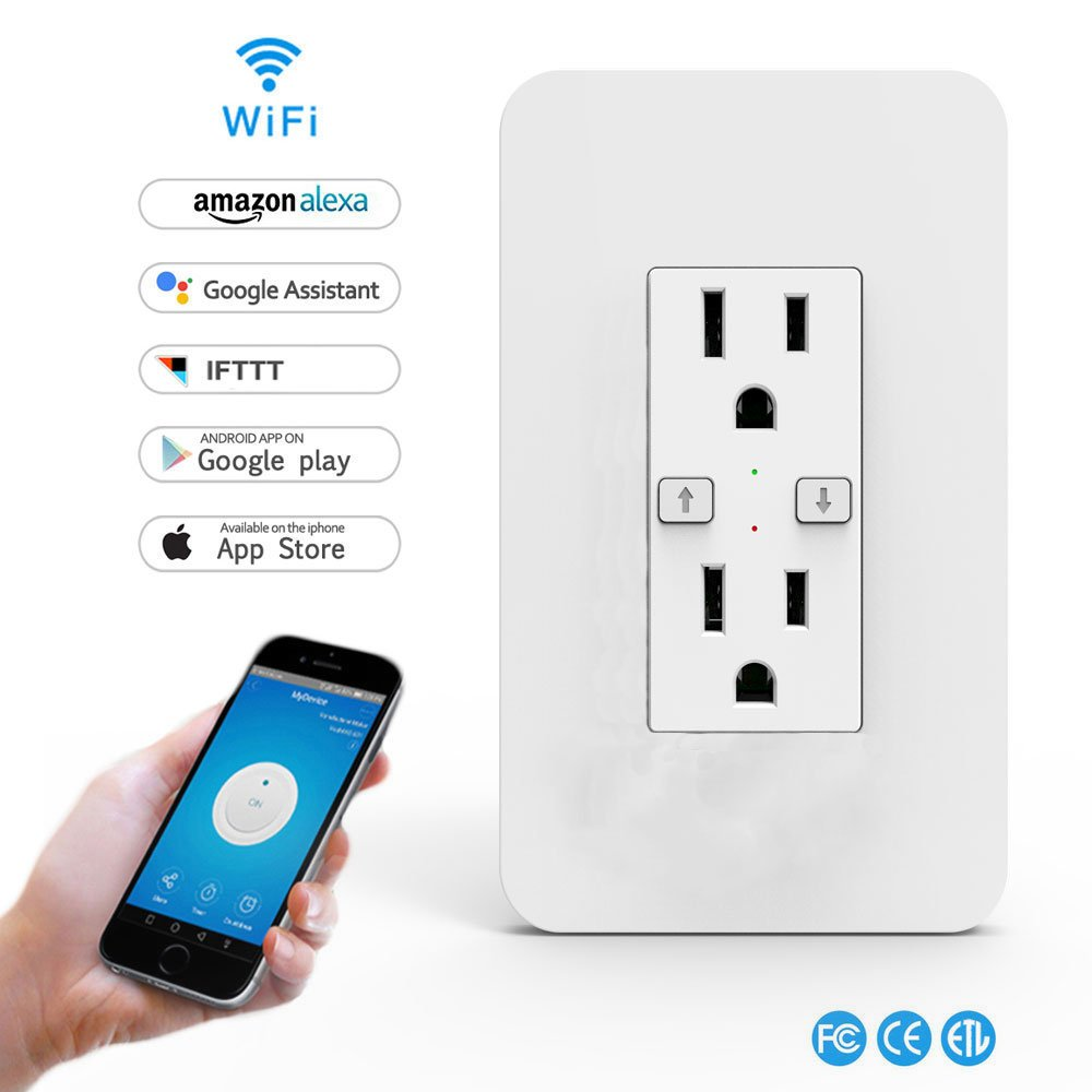 Smart Light Switch, Wi-Fi Switch Wireless Light Switch Compatible with Alexa and Google Home,No Hub Required,Timing Function,Control Your Fixtures From Anywhere (ON/Off Socket-1PCS)