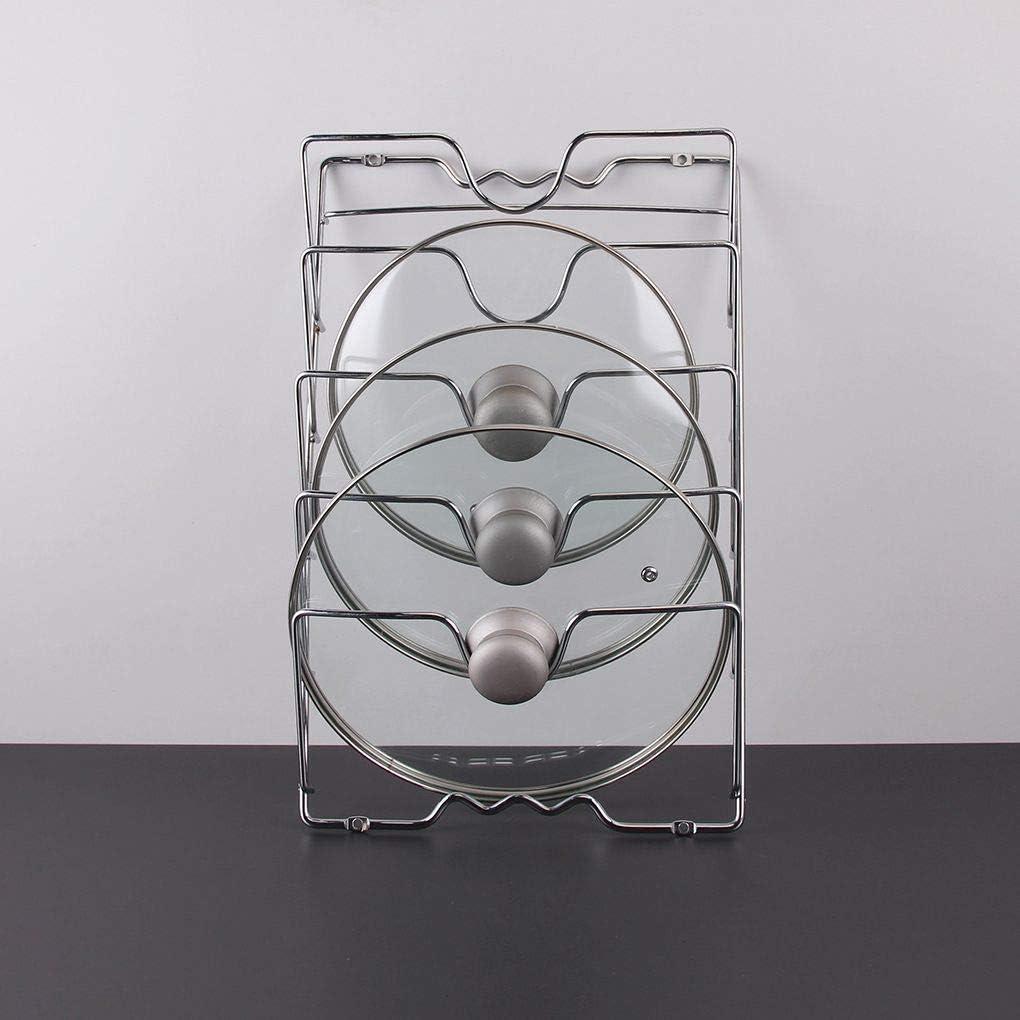 Support de Couvercles Casseroles,Vertical Ouvercle Pratique Pour Ustensiles de Cuisine et Cabinet M/étal Chrom/é Maniable Pour 5 Couvercles