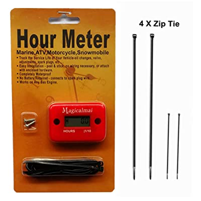 Magicalmai Inductive Hour Meter for Gas Engine Lawn Mower Dirt Bike Motorcycle Motocross Snowmobile Karting Marine ATV Boat Outboard Motor Generator Waterproof Hour Meters - Red: Automotive
