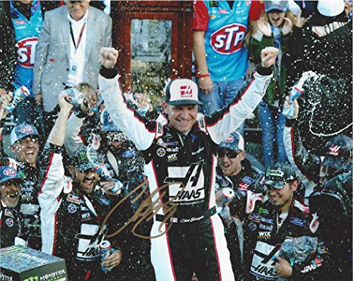 AUTOGRAPHED 2018 Clint Bowyer #14 Haas MARTINSVILLE RACE WIN (Grandfather Clock Victory Lane) Monster Cup Series Signed Collectible Picture NASCAR 8X10 Inch Glossy Photo with COA from Trackside Autographs