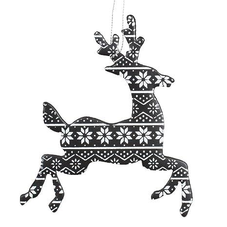 Amazon Com Vickerman 466520 6 Black White Flat Hologram Reindeer
