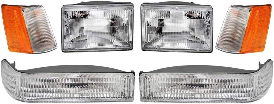6-Piece Epic Lighting OEM Style Replacement Halogen Headlight Side Marker Signal Light Combo Set for 93 94 95 96 Jeep Grand Cherokee Driver and Passenger Sides