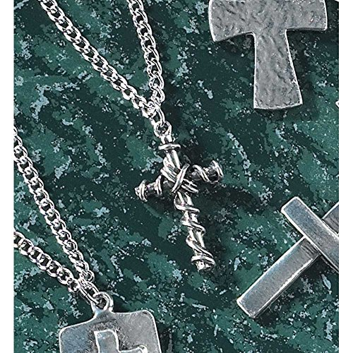 Dicksons Cross of Two Nails Wrapped in Wire Brushed Pewter 24-Inch Pendant Necklace