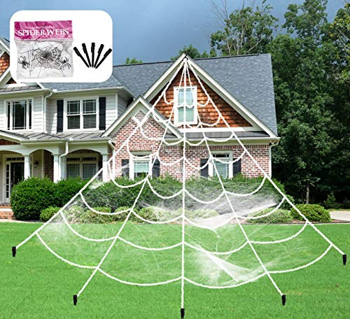 Aiduy Outdoor Halloween Decorations Scary Giant Spider Web Decorations Creepy Decor with Super Stretch Cobweb Set for Halloween Yard Decorations, 16 Ft -