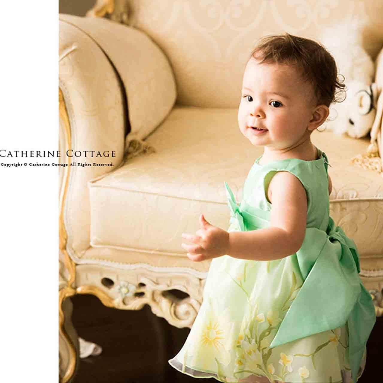 21343576e54ab Amazon.co.jp: Catherine Cottage 結婚式 出産祝い お遊戯会 花柄 オーガンジー ドレス ベビー 女の子 CC0399   服&ファッション小物