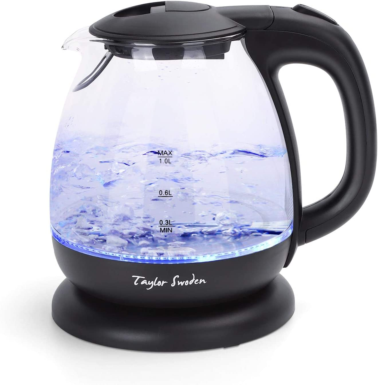 Small Glass Kettle Electric, Compact Mini Sized Electric Hot Water Kettle for Tea and Coffee 1L Black Taylor Swoden
