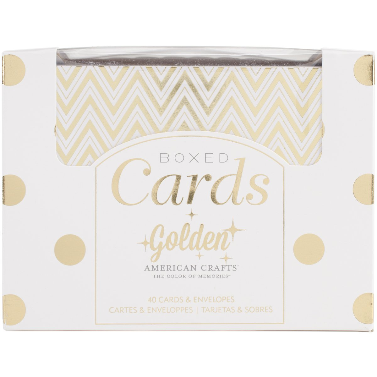 "A2 Card & Envelope Golden Box Set (4.24""X5.5"") with Shiny Gold Foil Treatments by American Crafts, 40 Cards And Envelopes Per Box. Perfect for Everyday, Holiday, Special Occasion Card Giving or Thank You Notes"