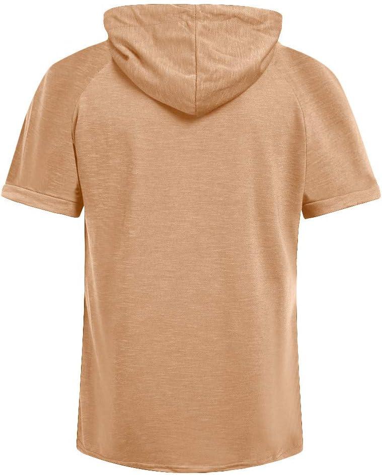 L, Black Litetao Spring Summer Casual Tops Short-Sleeved T-Shirt Solid Hooded Blouse Mens Hoodies