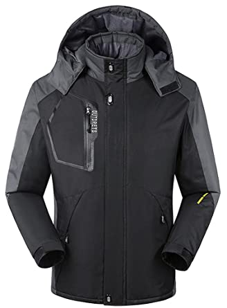 eb9ef8197f7 Wantdo Men s Waterproof Mountain Jacket Fleece Windproof Ski Jacket(Black