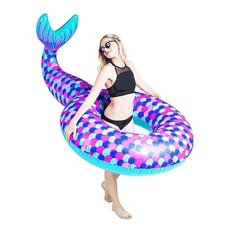 Sucastle Flotador Inflable para Piscina con Forma de Sirena,para Adultos niños Playa Fiestas de