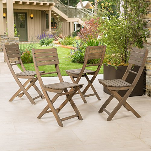 Vicaro | Acacia Wood Outdoor Foldable Dining Chairs | Set of 4 | Perfect for Patio | with Grey Finish