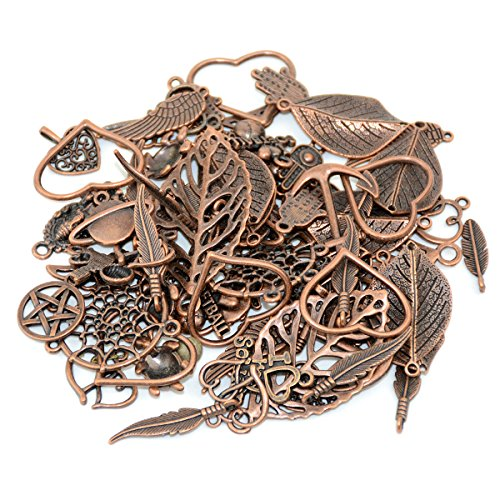 100g (70-80pcs) Mixed Charms Pendants Assorted DIY Antique Red Copper Charms Pendant for Crafting Bracelet Necklace Jewelry Findings Jewelry Making Accessory(100g mixed Red - Antique Mixed