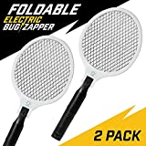 NoPests Electric Fly Swatter - 2 Pk Home Pest Control Foldable Fly Zapper Racket and Mosquito Killer with 2300V Electric Swatter + Pest Repeller Safety Mesh