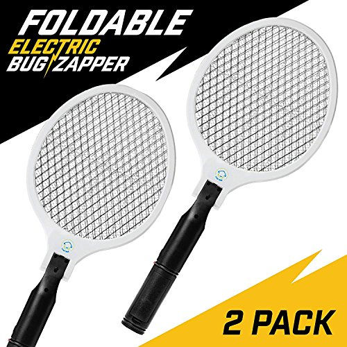 NoPests Electric Fly Swatter - 2 Pk Home Pest Control Foldable Fly Zapper Racket and Mosquito Killer with 2300V Electric Swatter + Pest Repeller Safety Mesh by NoPests