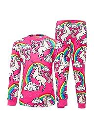 HenzWorld Girls' Pajama Sets 2-Piece Cotton Unicorn Princess Sleepwear Outfits