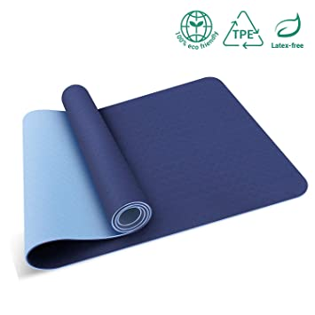 Oudort TPE Yoga Mat, Upgraded Eco-Friendly Double Non Slip Texture Yoga Mat 6mm Thick Hot Yoga Mat, Exercise Fitness Mat with Carrying Strap for Yoga, ...