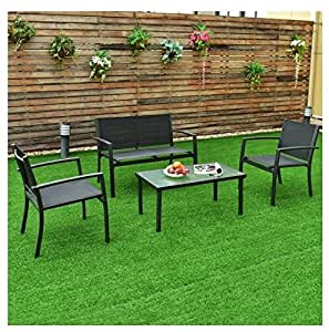 MD grupo muebles de jardín de acero marco textil cable de superficie 4pcs Café mobiliario de exterior/interior