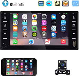 Double Din Car Stereo Radio 7 Inch Touch Screen Bluetooth FM Radio Receiver with USB AUX-in Port Support Smart Phone Mirror Link + Mini 4 LEDs Backup Camera for Toyota Corolla