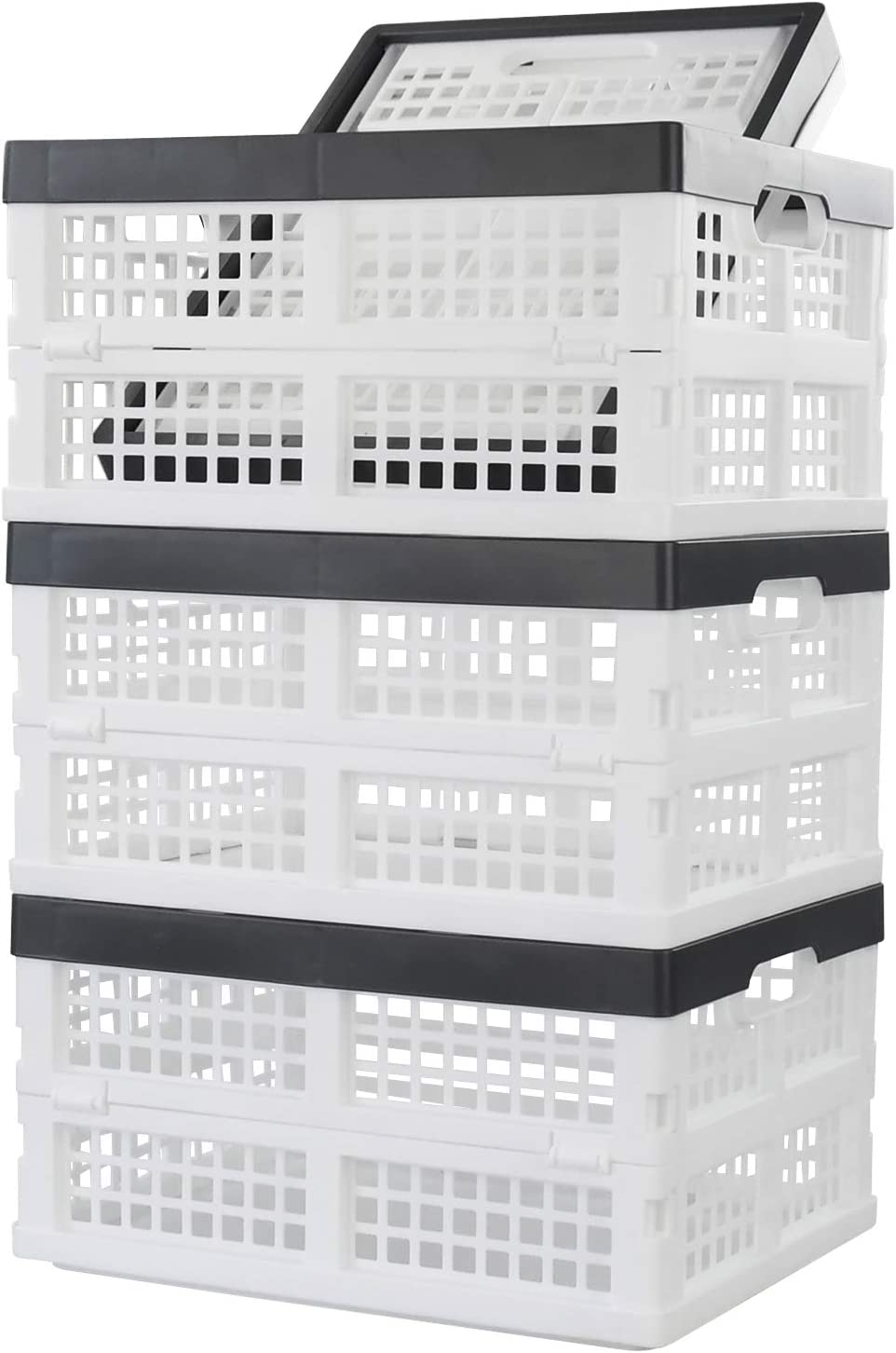 Ponpong Plastic Flat Crate Storage Collapsible Crate, White Deep Grey, 4 Packs