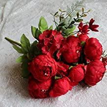 Houda Vintage Artificial Peony Silk Flowers Bouquets Home Wedding Decoration (Red)