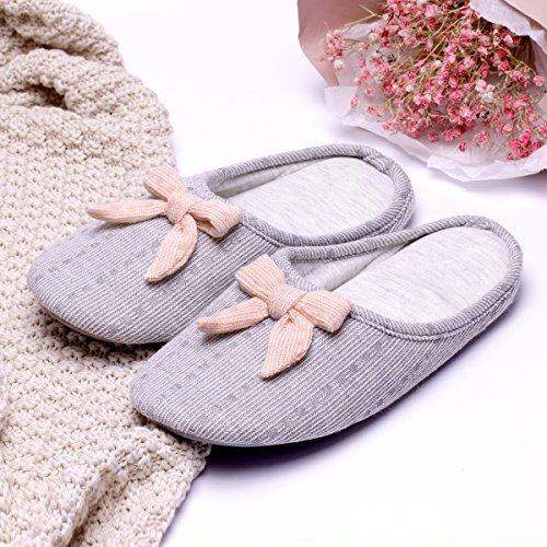 Soles Women's closed Grey Toe Non Foam Cashmere Slippers Cute Slip Cotton House Memory Bow vrqzvxO