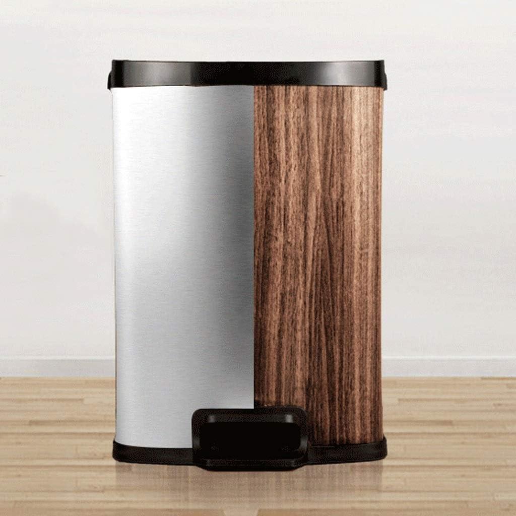 ごみ箱ごみ箱ホームリビングルームキッチンバスルーム中国風シンプルシンプルカバークリエイティブペダルステンレス模造木目ゴミ箱(サイズ:25cm * 23cm * 38.5cm)