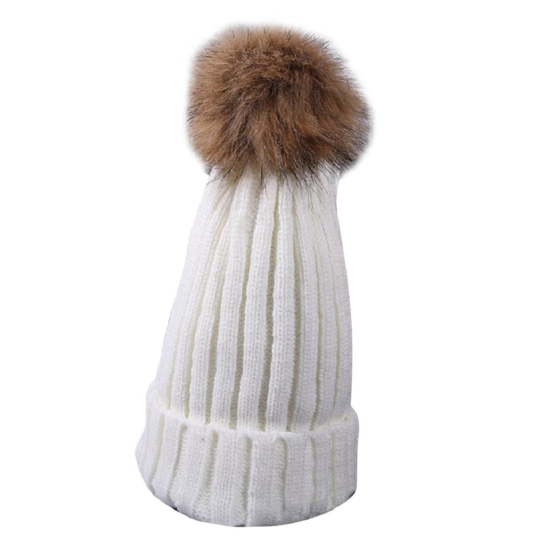 Phoenixb2c Women Winter Warm Cute Casual Fuzzy Ball Beanie Knitted Cap Crochet Hat