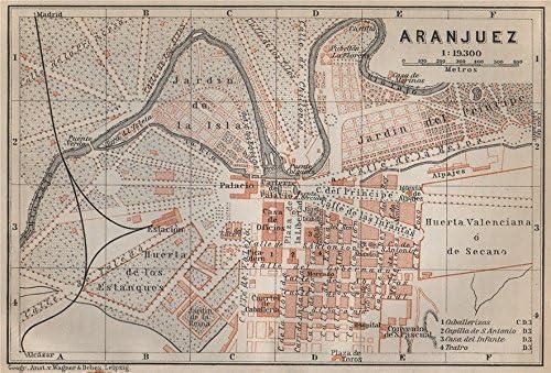 Aranjuez Antiguo Town City Ciudad Plan. España Mapa. Baedeker – 1913 – Old Antique Vintage Map – Juego de funda nórdica S de mapa de España: Amazon.es: Hogar
