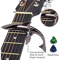 Imelod capo Guitar capo Shark capo per chitarra acustica ed elettrica, in lega di zinco per chitarra 6 corde con buona sensibilità della mano, nessun ronzio del tasto e durevole (nero)