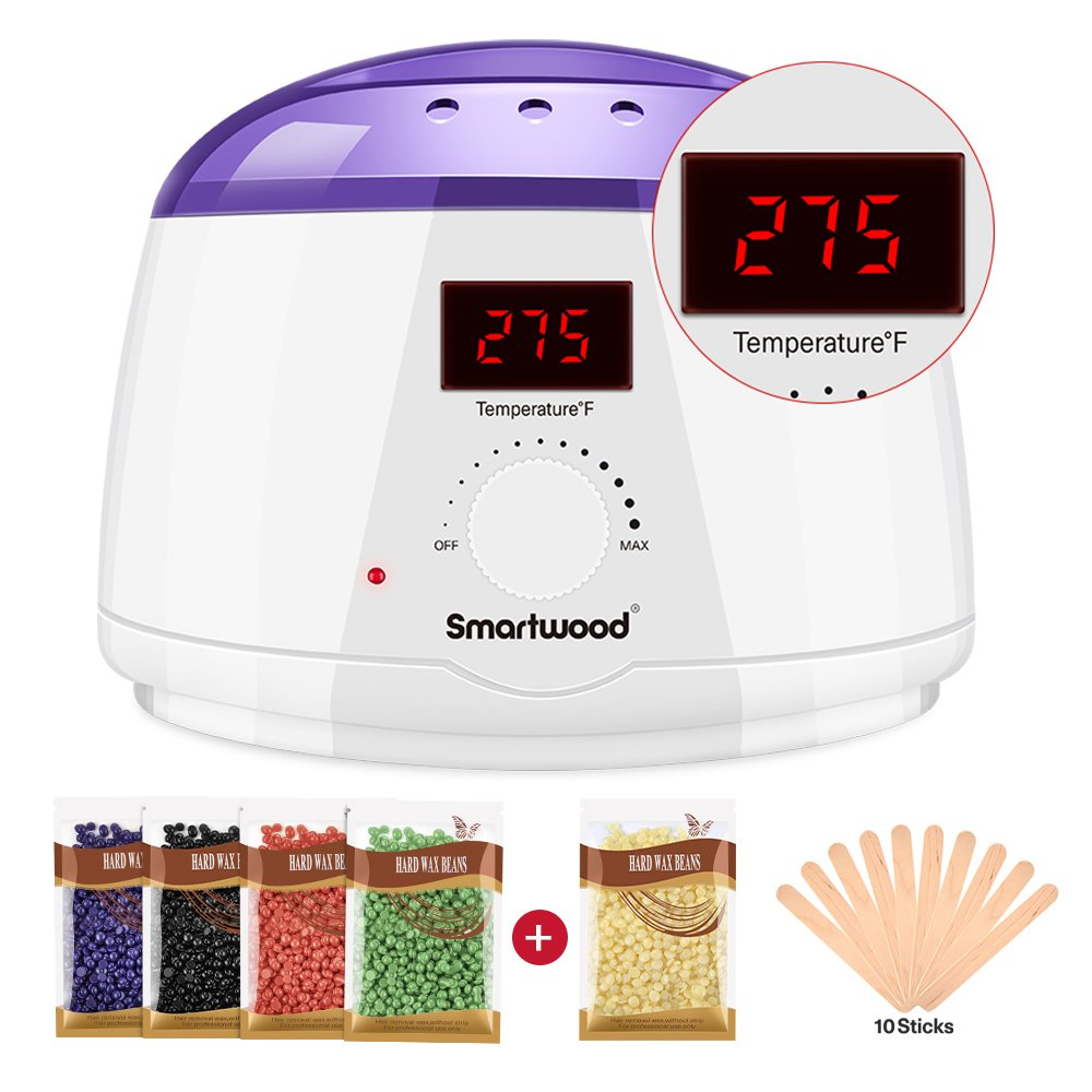 Smartwood Waxing kit, Home Rapid Melt Hair Removal Wax Warmer Kit with LCD Display Screen.