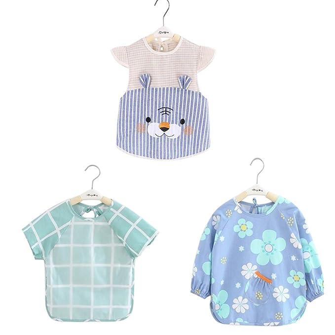 Amazon.com  3 Pcs Toddler Smock Baby Bibs Long Sleeve Bibs ... f72ec8ca0