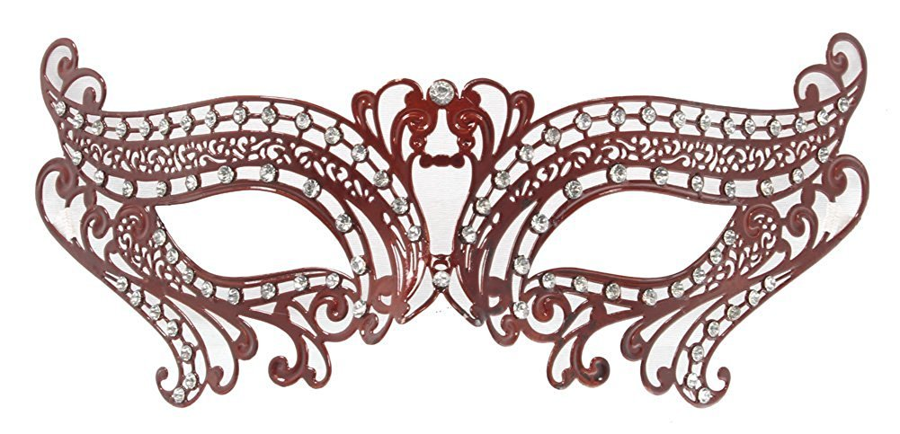 Hagora, Women's Love For Elegant Simplicity Bright Tones Laser Cut Metal Mask,Red One Size fits Most