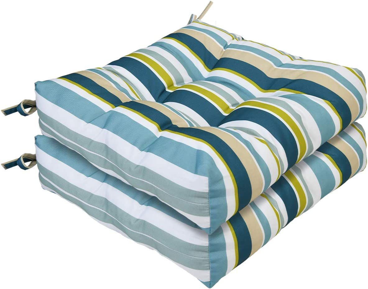 AAAAAcessories Outdoor Wicker Seat Chair Cushion Set of 2, 19 x 19 x 5 Inch, Green Stripes