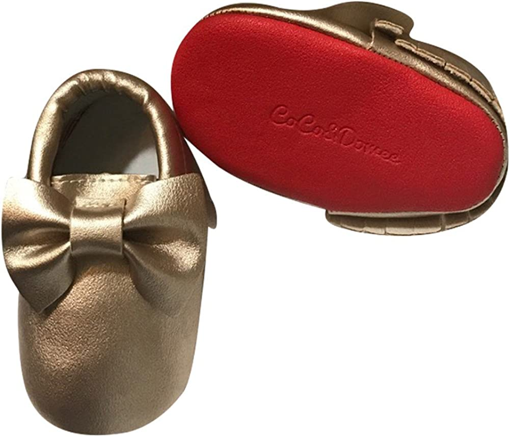 Baby Girls Gold Red Tassel Bow Soft Sole Faux Leather Crib Shoes 3-18M