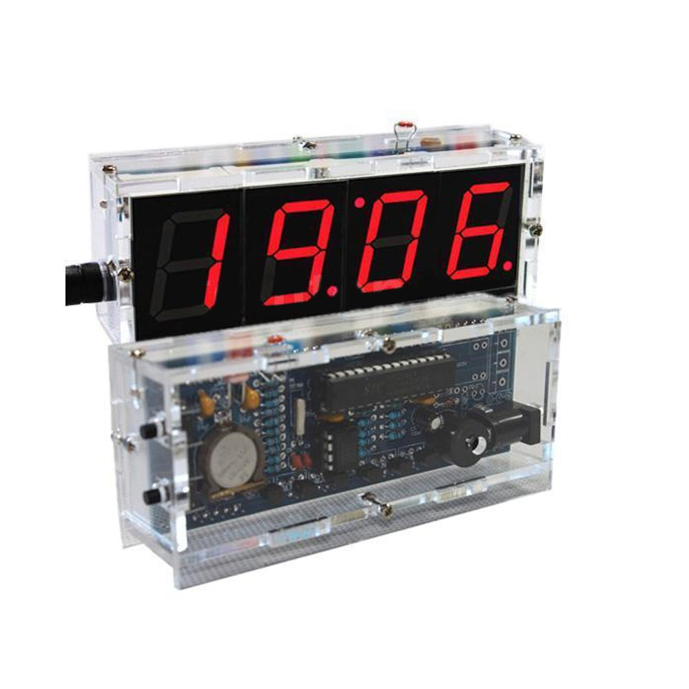 DIY Electronic 4 Digit Large Screen LED Clock Kit Temperature Display Red inventor Learning Electronic Kit Toy UI6