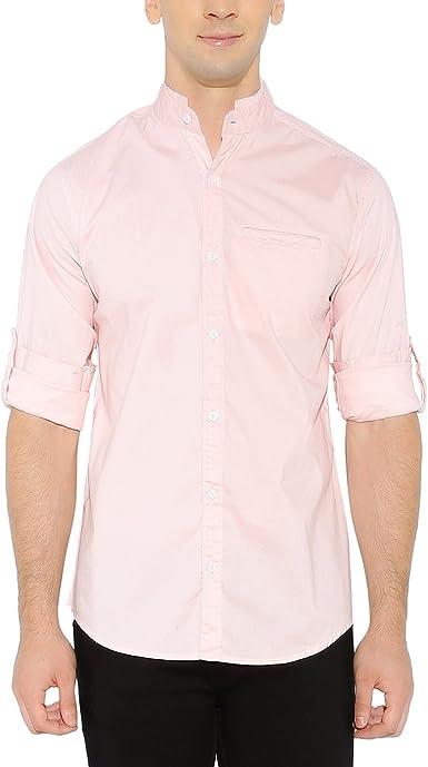nick&jess - Camisa casual - camisa - cuello mao - Manga Larga - para hombre rosa rosa: Amazon.es: Ropa y accesorios