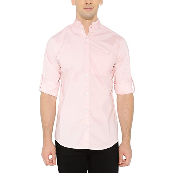 Nick&Jess Mens Pink Mandarin Collar Slim Fit Cotton Lyrca Shirt