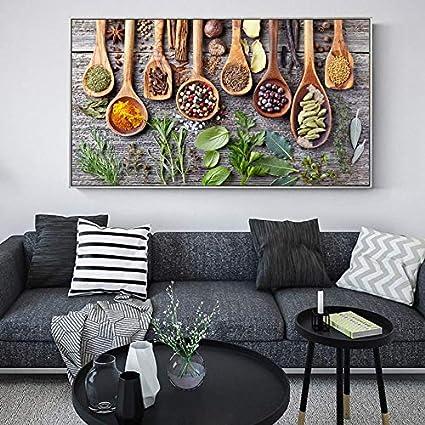 N / A Imágenes en la Mesa de Especias y Verduras en el Lienzo en la Cocina Tema de la Pared Arte de la Cocina Pintura sin Marco 30cmX60cm