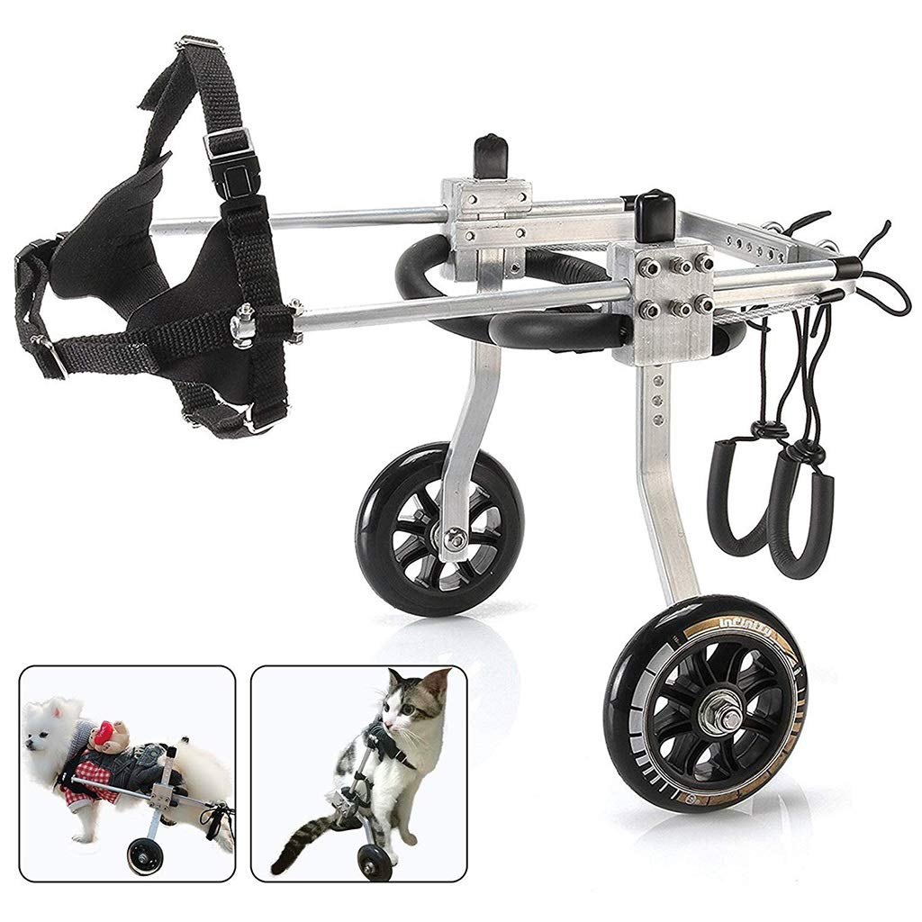 ZPWSNH Rehabilitation Wheelchair for Pets Hind Leg Mobility Harness Adjustable Stainless Steel 2 Rounds Pet car seat