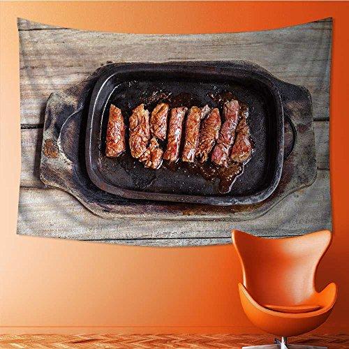 AmaPark Wall Hanging Tapestries Grilled Beef Tenderloin Steak in a hot pan on an Old Bedroom Living Room Dorm Decor 93W x 70L (Beef Tenderloin Mushroom)