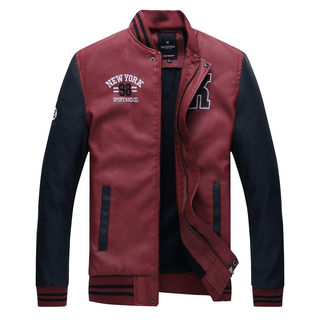 Baiggooswt Men's Leather Coat, Autumn Winter Open Front Casual Stand Neck Trench Coat Patchwork Color Block Baseball Jacket Red