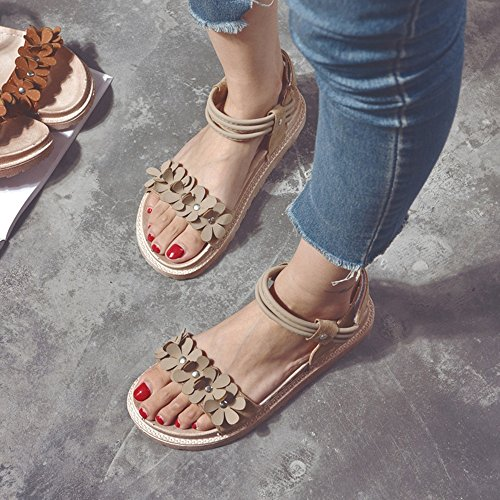 Sandals Amazing Thick Bottom Female Summer Flowers Mid Heel Rome Women's Shoes (Color : C, Size : EU36/UK4/CN36) B