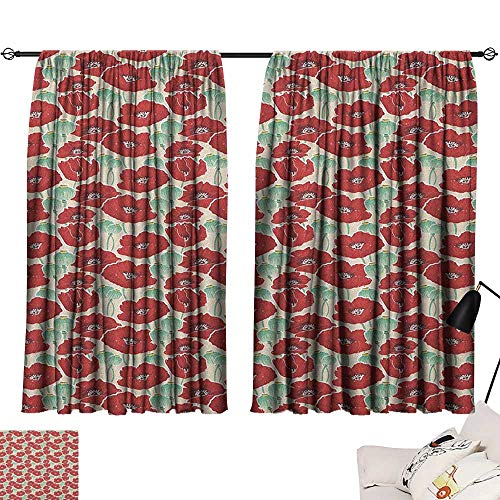 homehot Kitchen Curtains Poppy,Spring Garden Pattern with Red Blossoms Seed Capsules and Little Dots, Mint Green Ruby and Beige 54