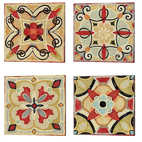 Bohemian Rooster Tile Square by Daphne Brissonnet, 4 Piece Canvas Art Set, 14 X 14 Inches Each, Pattern Art - Canvas Rooster Print Set