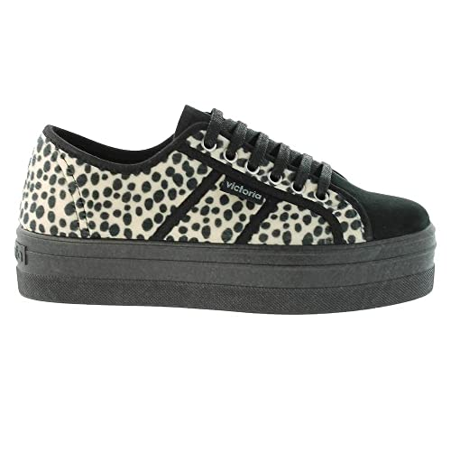 09228 Chaussures Victory - Plateforme Blucher Cuir Imprimé Animal, Cuir Couleur, Taille 37